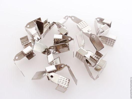 Для украшений ручной работы. Ярмарка Мастеров - ручная работа. Купить (10 шт) Концевик зажим для шнура ленты 5 мм с крышкой. Handmade.