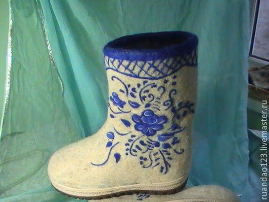 Обувь ручной работы. Ярмарка Мастеров - ручная работа. Купить Валенки Гжель. Handmade. Белый, узор, гжель, синий