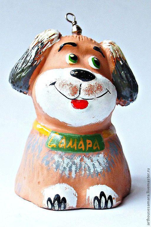 """Колокольчики ручной работы. Ярмарка Мастеров - ручная работа. Купить Керамический колокольчик """"Щенок"""". Handmade. Белый, щенок, керамический колокольчик"""