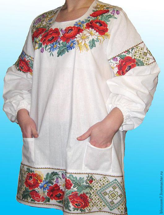 Блузки ручной работы. Ярмарка Мастеров - ручная работа. Купить Блузка вышитая(вышитая заготовка). Handmade. Белый, вышивка на льне