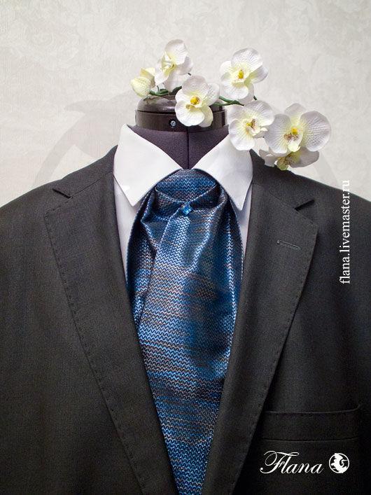 Шейный платок - пластрон (итальянский жаккард) - прекрасный подарок  любимому человеку. Индивидуальный заказ, Флана