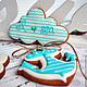 """Кулинарные сувениры ручной работы. Пряники """"Морские"""". Cookie-boutique (@sweetcookieshop). Ярмарка Мастеров. Бирюзовый, морской, морская тематика, глазурь"""