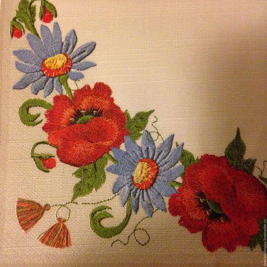 Салфетка для декупажа- вышитые цветы на льне Декупажная радость
