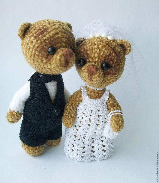 Игрушки животные, ручной работы. Ярмарка Мастеров - ручная работа. Купить свадебные мишки. Handmade. Коричневый, подарок на свадьбу, бисер