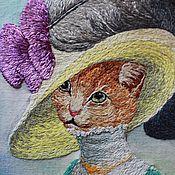 """Картины и панно ручной работы. Ярмарка Мастеров - ручная работа Картина """"Кошка"""" (вышивка гладью). Handmade."""