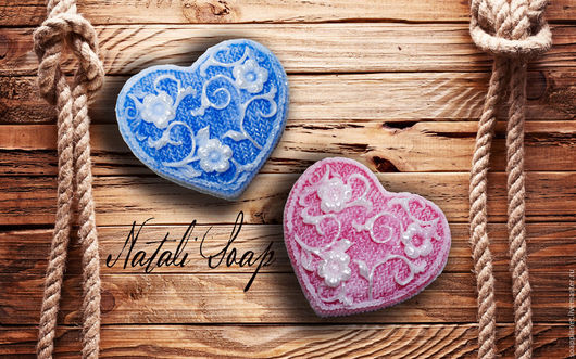 Мыло ручной работы. Ярмарка Мастеров - ручная работа. Купить Сердца с орнаментом. Handmade. Комбинированный, любовь, цветы, сюрприз