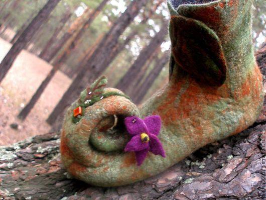 """Обувь ручной работы. Ярмарка Мастеров - ручная работа. Купить Валяные женские тапочки """"Лесная фея"""". Handmade. Оливковый"""