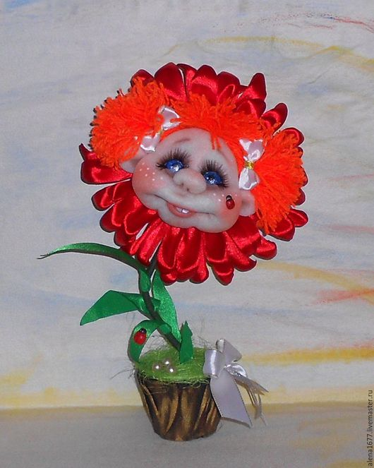 Человечки ручной работы. Ярмарка Мастеров - ручная работа. Купить Обаятельный цветочек.. Handmade. Ярко-красный, подарок, синтепон, сезаль