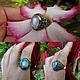Кольца ручной работы. Ярмарка Мастеров - ручная работа. Купить Кольцо Цветок с бирюзой и лабрадором и лунным камнем  из серебра 925. Handmade.