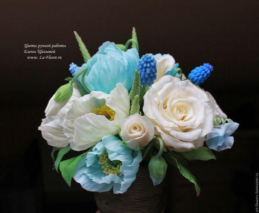 Интерьерные композиции ручной работы. Ярмарка Мастеров - ручная работа. Купить Флора (садовые маки, розы, мускарики). Handmade.