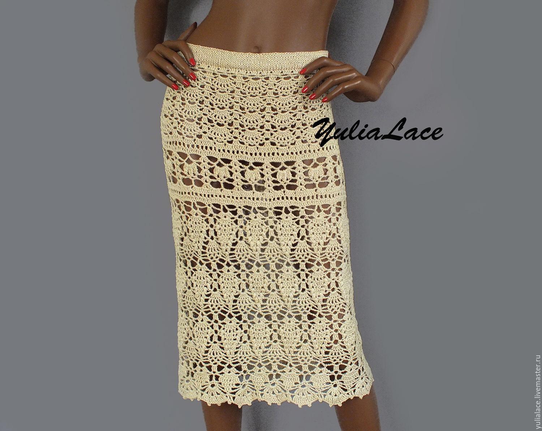 Ажурная летняя вязаная юбка