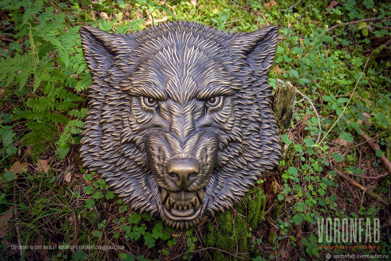 Сердитый волк барельеф. Голова животного, скульптура 38см, Маски интерьерные, Вологда,  Фото №1