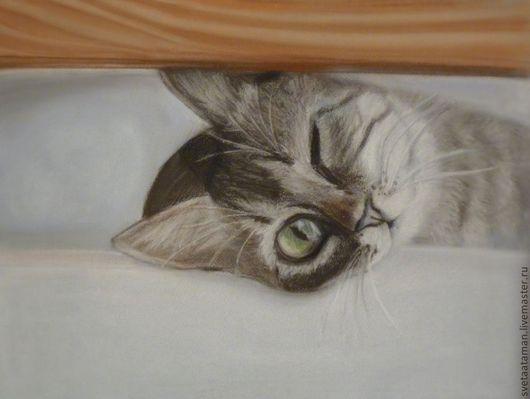 Животные ручной работы. Ярмарка Мастеров - ручная работа. Купить Любопытство кошку разбудило). Handmade. Серый, кошка, любопытство, подарок