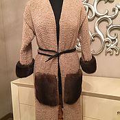 Одежда ручной работы. Ярмарка Мастеров - ручная работа Кардиган-пальто из шерсти с норковыми карманами и манжетами(коричневый. Handmade.