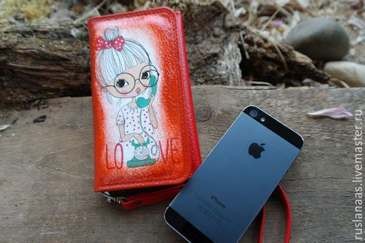 Для телефонов ручной работы. Ярмарка Мастеров - ручная работа. Купить Чехол сумочка для телефона айфона натуральная кожа декупаж. Handmade.
