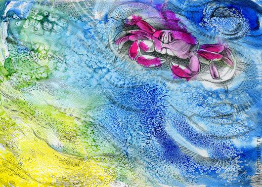 """Пейзаж ручной работы. Ярмарка Мастеров - ручная работа. Купить Картина """"Пляж"""". Handmade. Море, краб, песок, юг, экзотика"""
