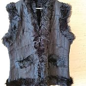Одежда handmade. Livemaster - original item Women`s vest made of sheepskin and tuscany 54 black. Handmade.
