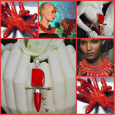 Decorations handmade. Livemaster - original item Lucky charm pendant, red coral, 925 silver, gold plated. Handmade.