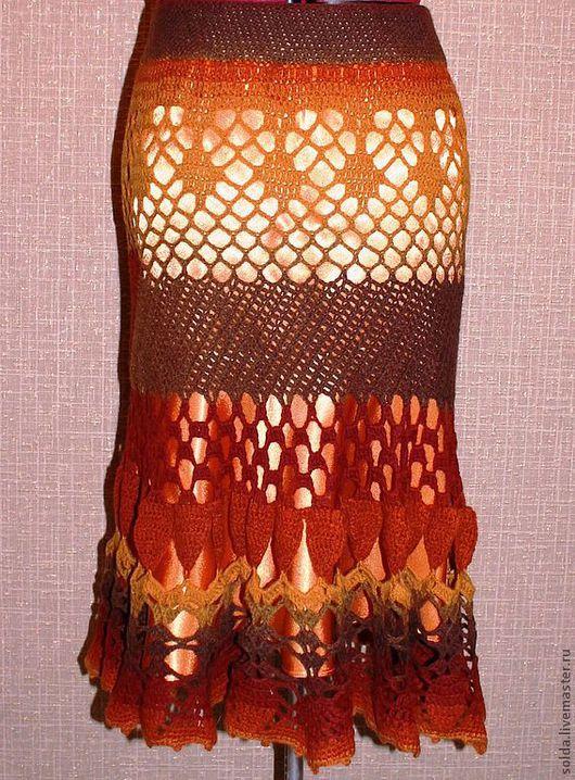 Юбки ручной работы. Ярмарка Мастеров - ручная работа. Купить юбка вязанная , длинная , выполнена крючком.. Handmade. Однотонный