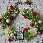 handmade. Livemaster - original item Bracelet watch handmade quartz with coral, agate Rose. Handmade.