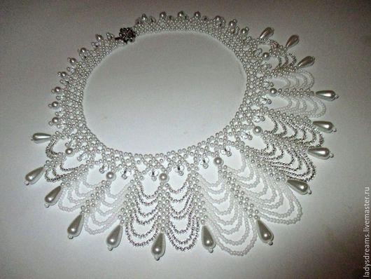 """Колье, бусы ручной работы. Ярмарка Мастеров - ручная работа. Купить Бисерное ожерелье """"На волнах счастья"""".. Handmade. Белый"""