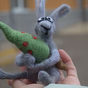 handmade. Livemaster - original item Felt toy: toy felted hare with a Christmas tree for the new year. Handmade.