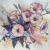 Картины и панно ручной работы. Ярмарка Мастеров - ручная работа Стилизованный вьюнок. Handmade.