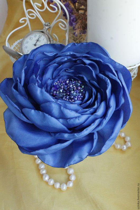 """Броши ручной работы. Ярмарка Мастеров - ручная работа. Купить Цветок-брошь из ткани """"Синяя -синяя"""". Handmade. Синий"""