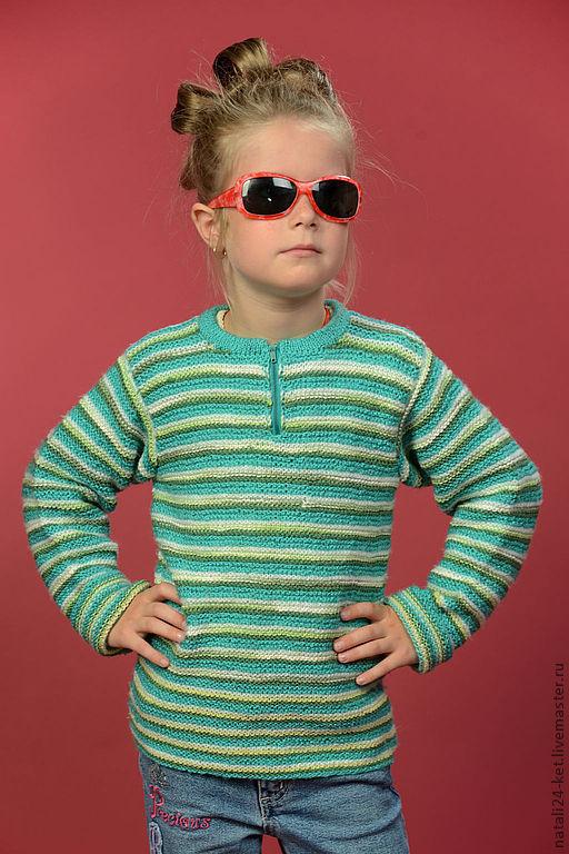 Кофты и свитера ручной работы. Ярмарка Мастеров - ручная работа. Купить Свитерок детский. Handmade. Мятный, полоски, одежда, на заказ