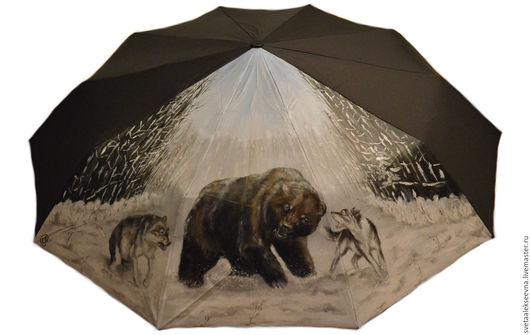 """Зонты ручной работы. Ярмарка Мастеров - ручная работа. Купить Зонт с ручной росписью  """"Охота-3"""". Handmade. Черный, волки"""