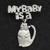 Броши винтажные ручной работы. Ярмарка Мастеров - ручная работа БРОШЬ котик кот котенок сердце 130. Handmade.