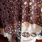 Аксессуары ручной работы. Ярмарка Мастеров - ручная работа Шаль твидовая Бархат винной ягоды. Handmade.