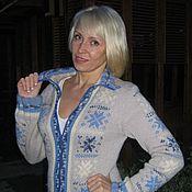 """Одежда ручной работы. Ярмарка Мастеров - ручная работа Жакет на молнии с орнаментом  """"Зимнее путешествие"""". Handmade."""