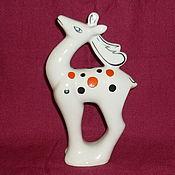 Винтаж handmade. Livemaster - original item Deer. Old Gzhel. Handmade.