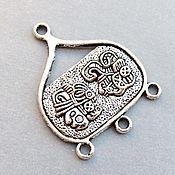 Материалы для творчества ручной работы. Ярмарка Мастеров - ручная работа _Коннектор 30 мм ЭТНО цвет античное серебро  металл для украшений. Handmade.
