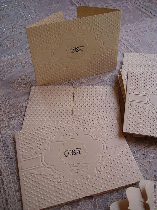 Свадебные открытки ручной работы. Ярмарка Мастеров - ручная работа. Купить Приглашение на свадьбу. Handmade. Бежевый, свадебное приглашение