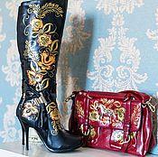 """Обувь ручной работы. Ярмарка Мастеров - ручная работа Сапоги """"Хохлома""""золото. Handmade."""
