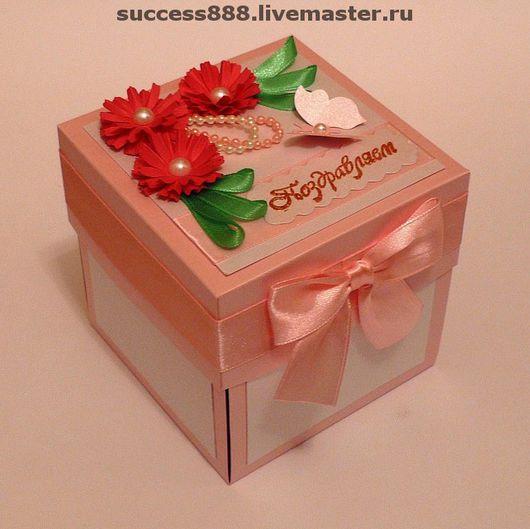 Детские открытки ручной работы. Ярмарка Мастеров - ручная работа. Купить Открытка-коробочка на рождение дочки. Handmade. коробочка для денег