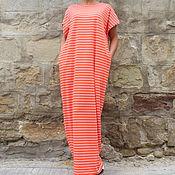 Одежда ручной работы. Ярмарка Мастеров - ручная работа Коралловое полосатое летнее длинное пляжное макси платье кафтан, абайя. Handmade.