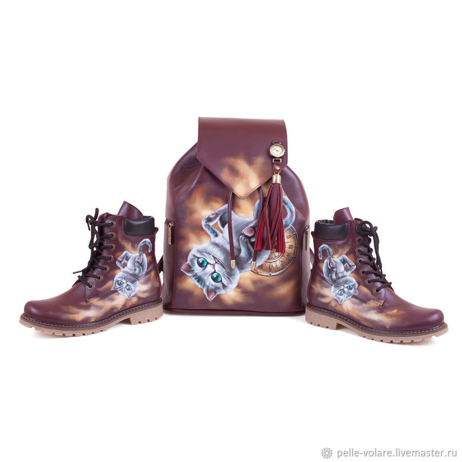 Set of leather backpack and boots 'Pleasant dreams', Boots, St. Petersburg,  Фото №1