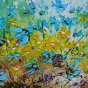 """Картины и панно ручной работы. Ярмарка Мастеров - ручная работа """"Windflowers (Анемоны)""""  картина маслом мастихином цветы 90х50 см. Handmade."""