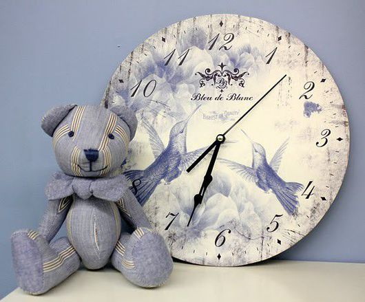 """Часы для дома ручной работы. Ярмарка Мастеров - ручная работа. Купить Набор часы и мишка """"Bleu de Blanc"""". Handmade."""