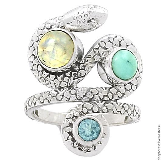 Кольца ручной работы. Ярмарка Мастеров - ручная работа. Купить Кольцо Ларимар топаз и лунный камень натуральные. Handmade. Голубой