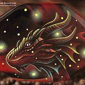 """Украшения ручной работы. Ярмарка Мастеров - ручная работа Браслет с росписью """"Огненный дракон"""" (пламя, агат, лаковая миниатюра). Handmade."""