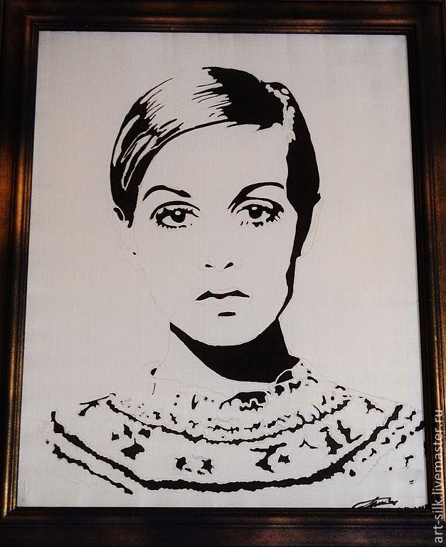 Авторский портрет на шелке.Твигги, Картины, Москва,  Фото №1