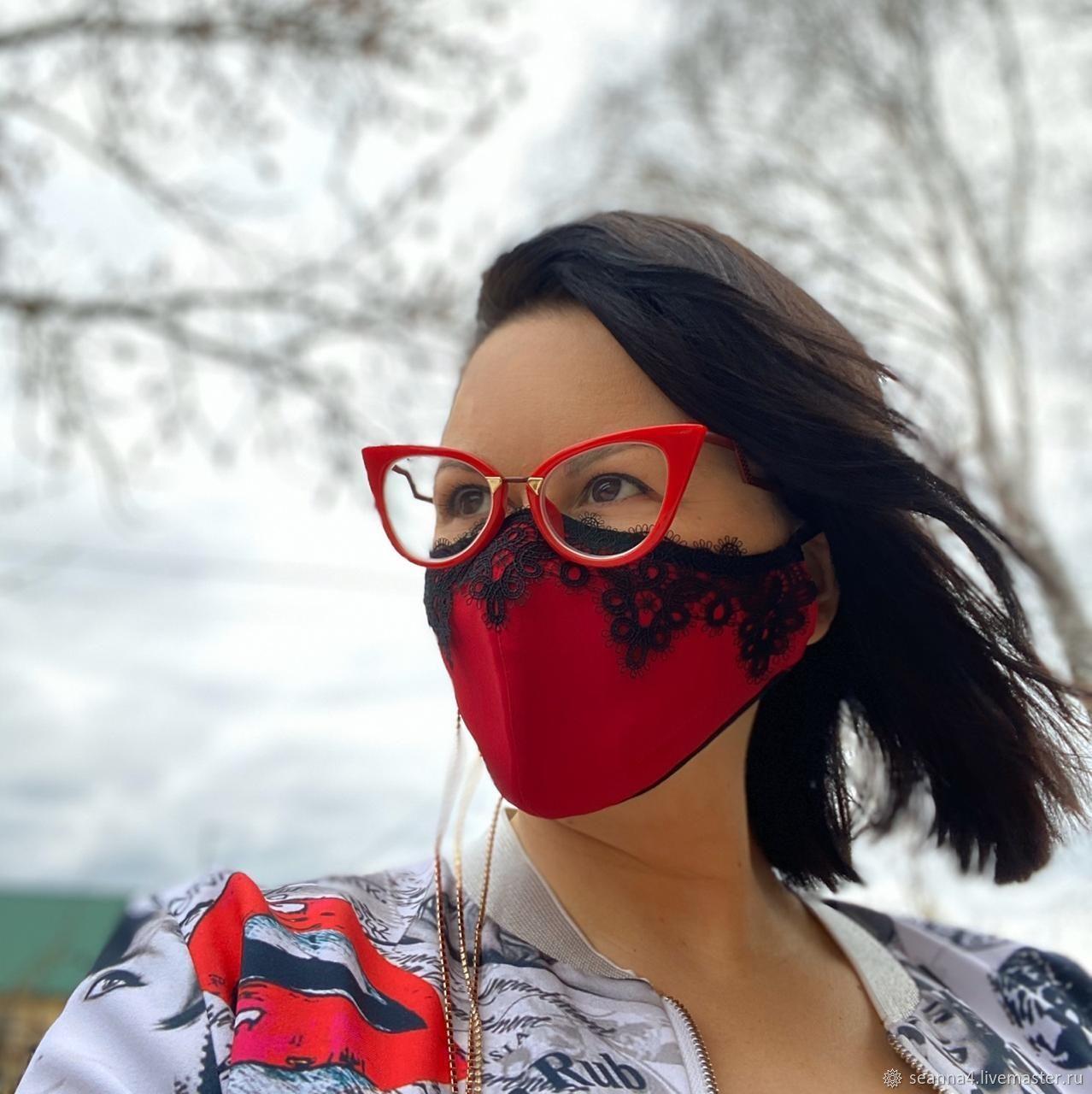 Маска защитная, супермодная Белая кружевная, Защитные маски, Воронеж,  Фото №1