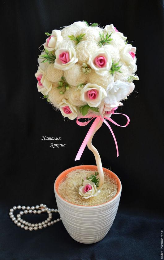 """Топиарии ручной работы. Ярмарка Мастеров - ручная работа. Купить Топиарий, дерево счастья """"Пастель"""". Handmade. Бледно-розовый"""