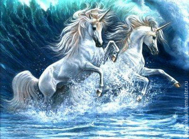 The scheme of embroidery beaded with full lining `Unicorns - ocean.