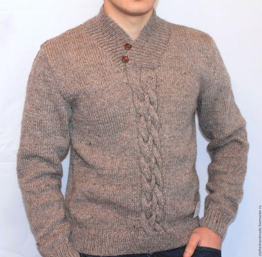 Для мужчин, ручной работы. Ярмарка Мастеров - ручная работа. Купить Мужской свитер вязаный. Handmade. Вязание на заказ, полушерсть