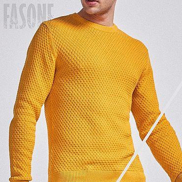 Clothing handmade. Livemaster - original item Jerseys: Yellow sweater men
